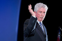 Bloc Quebecois leader Gilles Duceppe talks at the Federation of Canadian Municipalities (FCM) congress in Quebec city Friday May 30, 2008.