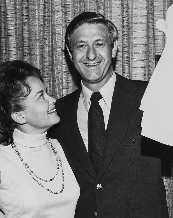 Rep. Jerry Litton, D-Mo. and his wife Sharon Litton as they study election results in 1975. (Photo by CQ Roll Call)