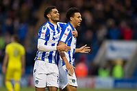 Mikael Mandrom celebrates with goalscorer Kurtis Guthrie of Colchester Unitedduring Colchester United vs Cheltenham Town, Sky Bet EFL League 2 Football at the Weston Homes Community Stadium on 6th January 2018