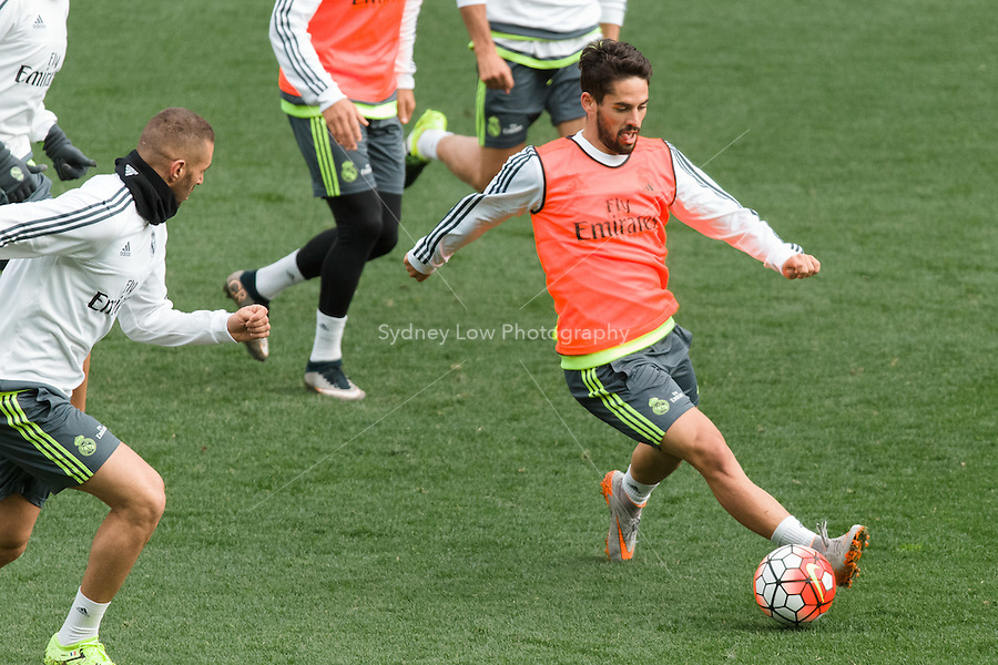 Melbourne, 14 July 2015 - Isco at an open training session of Real Madrid before their match against AS Roma at the 2015 International Champions Cup in Melbourne, Australia. Photo Sydney Low/AsteriskImages.com