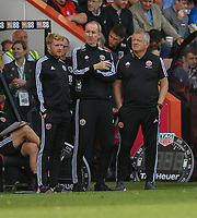 Sheffield United Sports Science manager Matt Prestridge (left), Assistant manager Alan Knill (centre) manager Chris Wilder (right) <br /> <br /> Photographer David Horton/CameraSport<br /> <br /> The Premier League - Bournemouth v Sheffield United - Saturday 10th August 2019 - Vitality Stadium - Bournemouth<br /> <br /> World Copyright © 2019 CameraSport. All rights reserved. 43 Linden Ave. Countesthorpe. Leicester. England. LE8 5PG - Tel: +44 (0) 116 277 4147 - admin@camerasport.com - www.camerasport.com