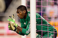 Chicago Fire goalkeeper Sean Johnson (25) sets up a wall. The New York Red Bulls defeated the Chicago Fire 5-2 during a Major League Soccer (MLS) match at Red Bull Arena in Harrison, NJ, on October 27, 2013.