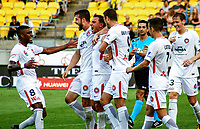 Syndey players celebrate their goal during the A-League football match between Wellington Phoenix and Sydney Wanderers at Westpac Stadium in Wellington, New Zealand on Saturday, 13 January 2018. Photo: Mike Moran / lintottphoto.co.nz