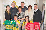 Ester Brosnan Muckross raising money for her Niall Mellon Charity trip to South Africa by auctioning off autographed Kerry and Manchester United shirts in the Killarney Oaks on Friday night front row l-r: Gavin Brosnan, Ester Brosnan Muckross, Kay O'Leary, Cathal Walsh, Hazel Brosnan, Donal, Ann O'Shea and Sean Daly.