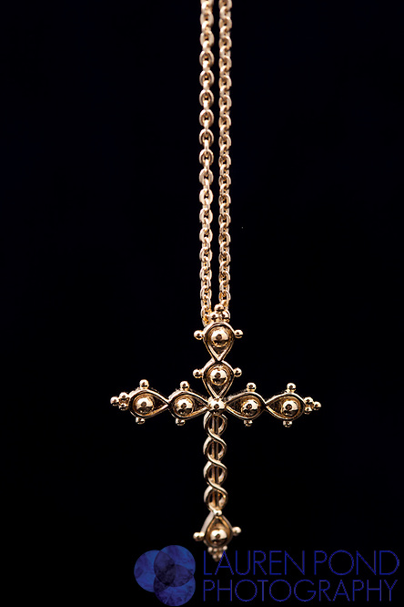 Laminin gold cross necklace