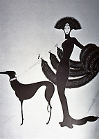 Erté, Symphony in Black, original 1930's, reprinted 1983. Erté was an artist-illustrator who worked with designers.  Gained his fame with Harper's Bazaar. Photo Sept. 1989.