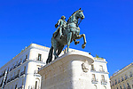 Equestrian statue King Carlos III, Plaza de la Puerta del Sol, Madrid city centre, Spain