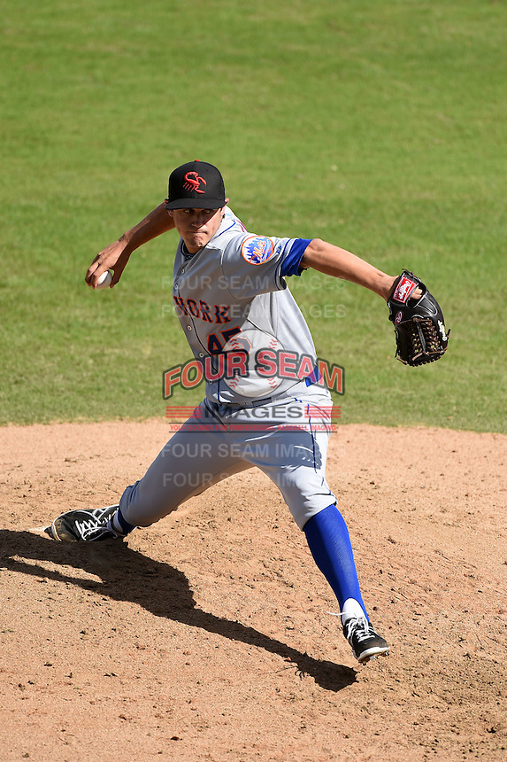 Scottsdale Scorpions pitcher Paul Sewald (45) during an Arizona Fall League game against the Surprise Saguaros on October 16, 2014 at Surprise Stadium in Surprise, Arizona.  Surprise defeated Scottsdale 7-3.  (Mike Janes/Four Seam Images)