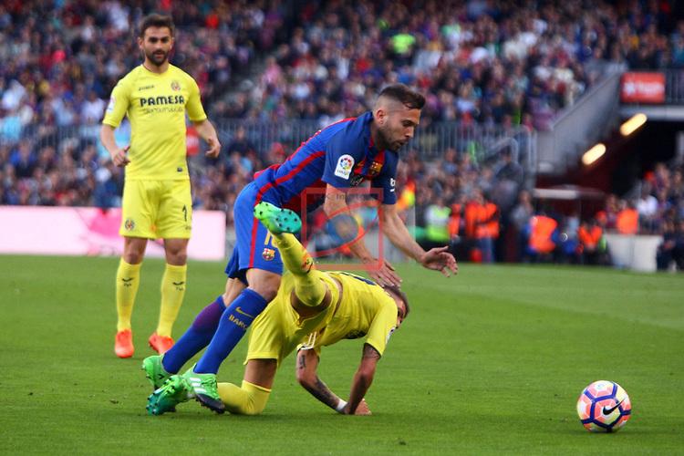 League Santander 2016/2017. Game: 36.<br /> FC Barcelona vs Villarreal CF: 4-1.<br /> Samu Castillejo vs Jordi Alba.