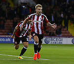 Harry Chapman of Sheffield Utd celebrates scoring the first goal during the League One match at Bramall Lane Stadium, Sheffield. Picture date: September 27th, 2016. Pic Simon Bellis/Sportimage