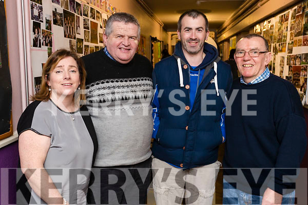 Sharon Sheehan, Jimmy Conway, Darcy O'Connell and Mike Molloy at the Scor Sinsear county finals at Mhuire Gan Smal, Castleisland on Saturday night.