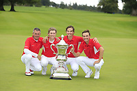 Torben Henriksen Nyehus (Team Manager), John Axelsen, Nicolai Hojgaard and Rasmus Hojgaard team Denmark winners of the World Amateur Team Championships Eisenhower Trophy 2018, Carton House, Kildare, Ireland. 08/09/2018.<br /> Picture Fran Caffrey / Golffile.ie<br /> <br /> All photo usage must carry mandatory copyright credit (© Golffile | Fran Caffrey)