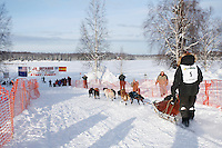 Sunday February 27, 2010   Aniton Guillrrno, an exchange student from Spain leaves the start line of the Junior Iditarod at Willow Lake , Alaska