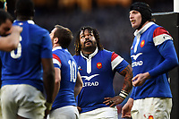 Mathieu Bastareaud of France looks dejected after his side concede a try. Guinness Six Nations match between England and France on February 10, 2019 at Twickenham Stadium in London, England. Photo by: Patrick Khachfe / Onside Images