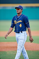 Montgomery Biscuits Jermaine Palacios (4) after a game against the Biloxi Shuckers on May 8, 2018 at Montgomery Riverwalk Stadium in Montgomery, Alabama.  Montgomery defeated Biloxi 10-5.  (Mike Janes/Four Seam Images)