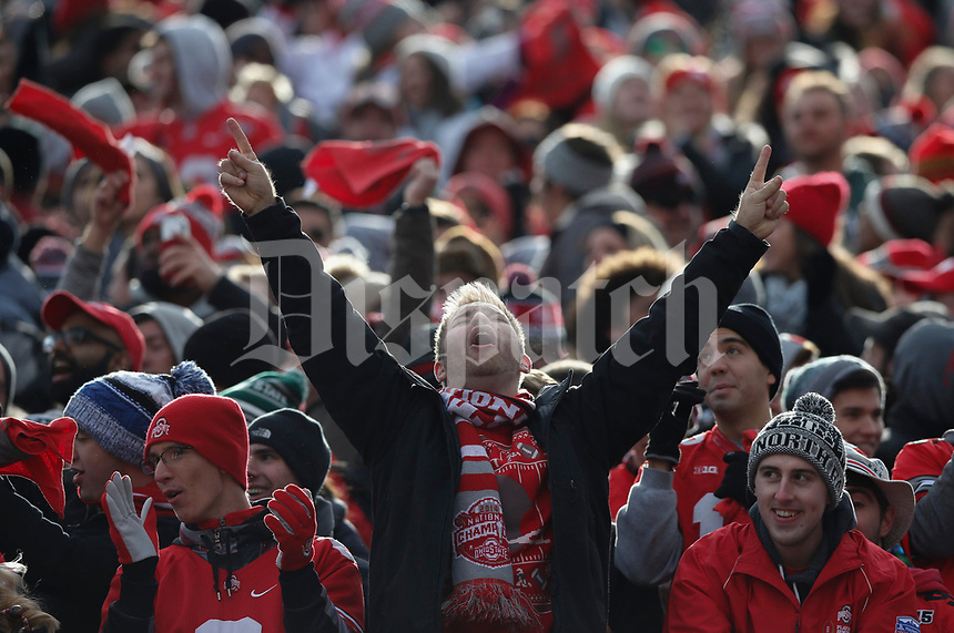 An Ohio State fan celebrates after an 82-yard Mike Weber touchdown during the second quarter of a NCAA college football game between the Ohio State Buckeyes and the Michigan State Spartans on Saturday, November 11, 2017 at Ohio Stadium in Columbus, Ohio. [Joshua A. Bickel/Dispatch]