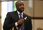 Nevada Sen. Kelvin Atkinson, D-North Las Vegas, speaks during an emotional floor debate about gun control issues at the Legislative Building in Carson City, Nev., on Wednesday, May 22, 2013. <br /> Photo by Cathleen Allison