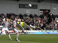 Anthony Watt heads to goal in the St Mirren v Celtic Clydesdale Bank Scottish Premier League match played at St Mirren Park, Paisley on 20.10.12.