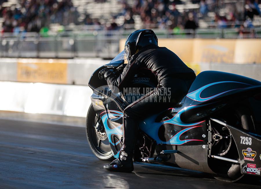 Jul 26, 2019; Sonoma, CA, USA; NHRA pro stock motorcycle rider Jianna Salinas during qualifying for the Sonoma Nationals at Sonoma Raceway. Mandatory Credit: Mark J. Rebilas-USA TODAY Sports