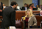 Nevada Assembly Republicans David Gardner and Michele Fiore talk on the Assembly floor at the Legislative Building in Carson City, Nev., on Sunday, May 31, 2015.  <br /> Photo by Cathleen Allison