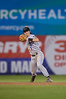Hudson Valley Renegades shortstop Nick Sogard (7) throws to first base during a NY-Penn League game against the Mahoning Valley Scrappers on July 15, 2019 at Eastwood Field in Niles, Ohio.  Mahoning Valley defeated Hudson Valley 6-5.  (Mike Janes/Four Seam Images)