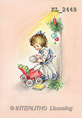 Interlitho, CHRISTMAS SANTA, SNOWMAN, nostalgic, paintings, girl, doll, branch(KL2448,#X#) Weihnachten, nostalgisch, Navidad, nostálgico, illustrations, pinturas