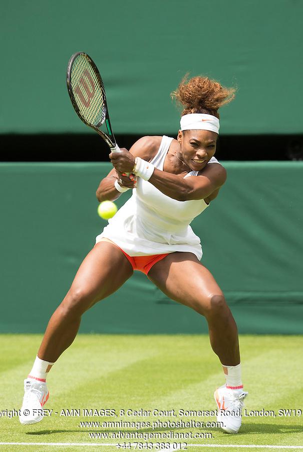 Serena Williams<br /> <br /> Tennis - The Championships Wimbledon  - Grand Slam -  All England Lawn Tennis Club  2013 -  Wimbledon - London - United Kingdom - Tuesday 25th June  2013. <br /> &copy; AMN Images, 8 Cedar Court, Somerset Road, London, SW19 5HU<br /> Tel - +44 7843383012<br /> mfrey@advantagemedianet.com<br /> www.amnimages.photoshelter.com<br /> www.advantagemedianet.com<br /> www.tennishead.net