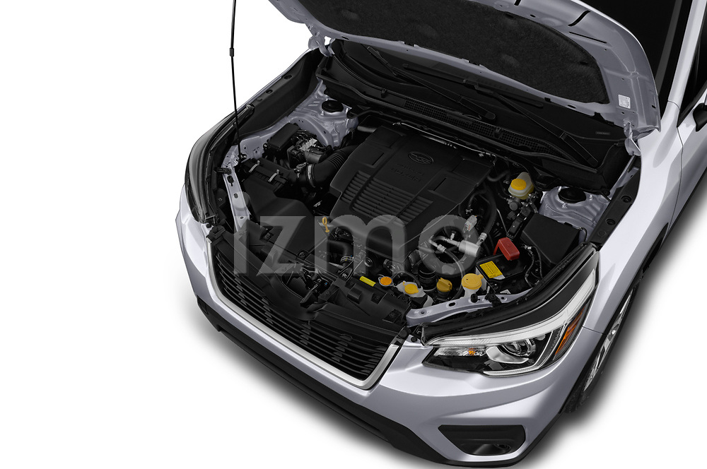 Car stock 2019 Subaru Forester Premium 5 Door Wagon engine high angle detail view