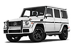 Stock pictures of low aggressive front three quarter view of a 2018 Mercedes Benz G-Class G550 5 Door SUV