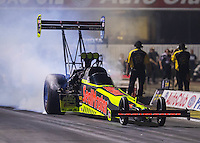 Nov 11, 2016; Pomona, CA, USA; NHRA top fuel driver J.R. Todd during qualifying for the Auto Club Finals at Auto Club Raceway at Pomona. Mandatory Credit: Mark J. Rebilas-USA TODAY Sports