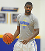Hofstra University No. 2 Ameen Tanksley grips the ball during an informal men's basketball team workout at the team's practice facility on Wednesday, July 22, 2015.<br /> <br /> James Escher
