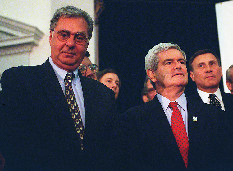 11/13/97.GINGRICH AND ARMRY:Speaker of the House Newt Gingrich,R-Ga., and Majority Leader Dick Armey,R-Texas, hold a press conference on the adjournment of the first session of the 105th Congress and future goals..CONGRESSIONAL QUARTERLY PHOTO BY DOUGLAS GRAHAM  ..