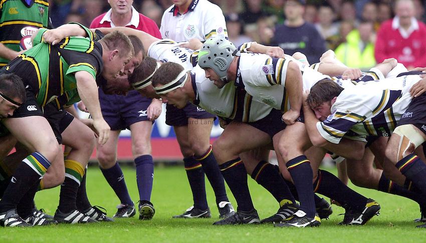 Photo. Richard Lane. .Northampton v London Irish. Zurich Premiership. 26/8/2000..London Irish pack go head to head with Northampton in the scrum.