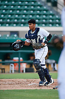 Detroit Tigers catcher Moises Nunez (48) during a Florida Instructional League game against the Pittsburgh Pirates on October 6, 2018 at Joker Marchant Stadium in Lakeland, Florida.  (Mike Janes/Four Seam Images)