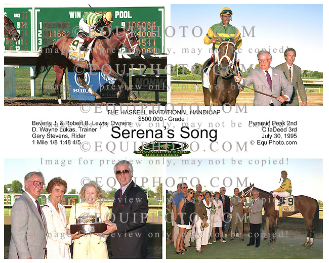 Serena's Song #9 with Gary Stevens riding won the Grade 1 Haskell Invitational at Monmouth Park in Oceanport, New Jersey July 30, 1995. Photo By EQUI-PHOTO