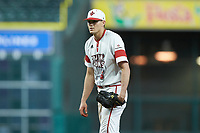 Louisiana Ragin' Cajuns starting pitcher Nick Lee (6) looks to his catcher for the sign against the Mississippi State Bulldogs in game three of the 2018 Shriners Hospitals for Children College Classic at Minute Maid Park on March 2, 2018 in Houston, Texas.  The Bulldogs defeated the Ragin' Cajuns 3-1.   (Brian Westerholt/Four Seam Images)
