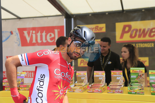 Nacer Bouhanni (FRA) Cofidis stocks up at sign on in Mondorf-les-Bains before the start of Stage 4 of the 104th edition of the Tour de France 2017, running 207.5km from Mondorf-les-Bains, Luxembourg to Vittel, France. 4th July 2017.<br /> Picture: Eoin Clarke | Cyclefile<br /> <br /> <br /> All photos usage must carry mandatory copyright credit (&copy; Cyclefile | Eoin Clarke)