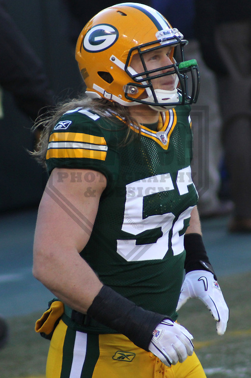 GREEN BAY - JANUARY 2011: Clay Matthews (52) of the Green Bay Packers during a game on January 2, 2011 at Lambeau Field in Green Bay, Wisconsin. (Photo by Brad Krause)