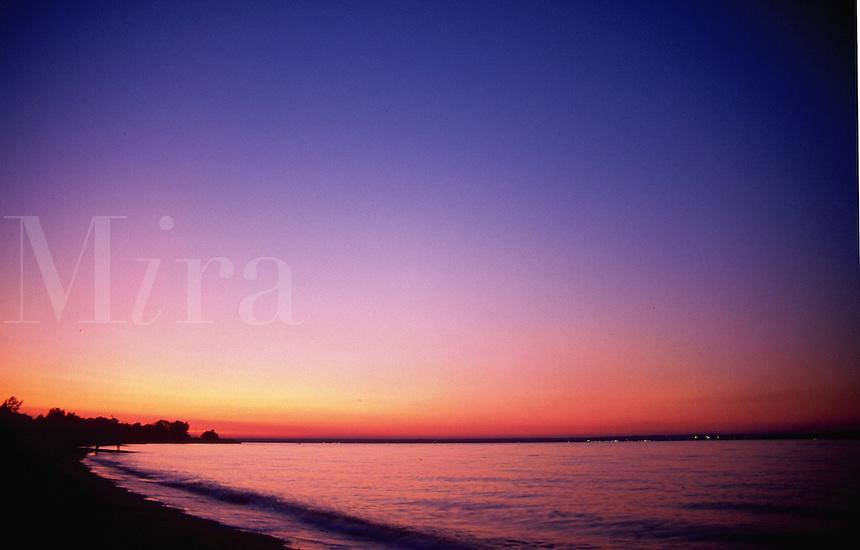 North Shore beach at sunset. Long Island, New York.