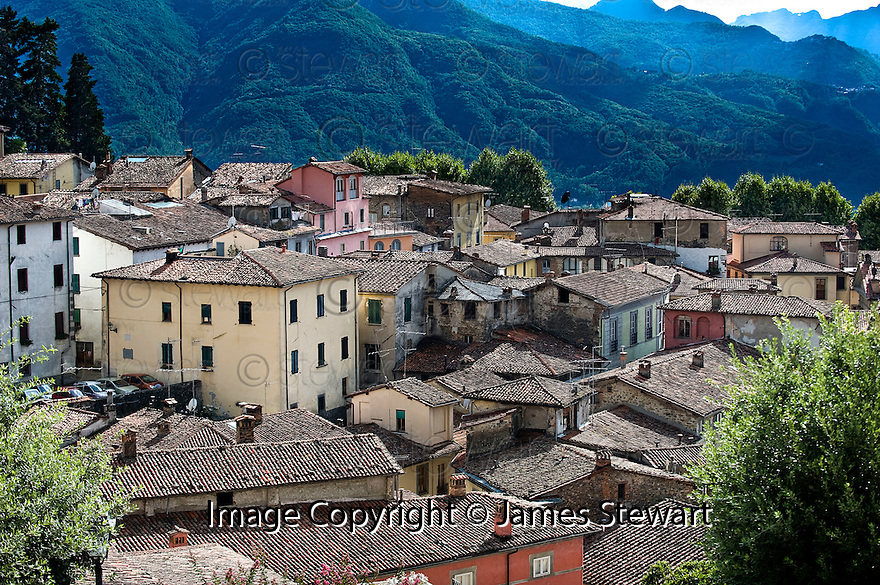 "SAGRA DEL ""PESCE E PATATE"" 2011, BARGA, ITALY<br /> <br /> GENERAL VIEW OF THE OLD TOWN AREA OF BARGA."