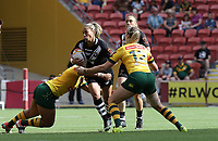 New Zealand's Hilda Peters is tackled during the women's Rugby League World Cup final between Australia and New Zealand, Suncorp Stadium, Brisbane, Australia, 2 December 2017. Copyright Image: Tertius Pickard / www.photosport.nz MANDATORY CREDIT/BYLINE : Tertius Pickard/SWpix.com/PhotosportNZ