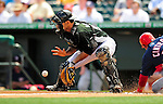 16 March 2009: Florida Marlins' catcher Mike Rabelo in action during a Spring Training game against the Washington Nationals at Roger Dean Stadium in Jupiter, Florida. The Nationals defeated the Marlins 3-1 in the Grapefruit League matchup. Mandatory Photo Credit: Ed Wolfstein Photo