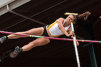 Missouri junior Katrine Haarklau pushes back her pole during a clearance in the women's pole vault at the 2014 NCAA Division I Outdoor Track and Field Championships at Hayward Field, in Eugene, Or. Friday, June 13. Harrklau cleared 13-9.25 and finished 6th to add another first-team All-American honor to her resume.