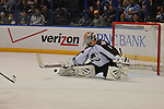 Colorado Avalanche goalie Semyon Varlamov (1) reaches for a shot on goal that went wide in the third period during a game between the Colorado Avalanche and the St. Louis Blues on Tuesday April 23, 2013 at the Scottrade Center in downtown St. Louis.