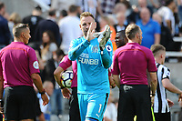 Robert Elliot of Newcastle United applauds fans at the final whistle during Newcastle United vs Tottenham Hotspur, Premier League Football at St. James' Park on 13th August 2017