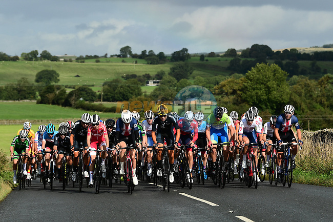 The peloton in action during the Men's Junior Road Race of the UCI World Championships 2019 running 148km from Richmond to Harrogate, England. 26th September 2019.<br /> Picture: Alex Broadway/SWpix.com | Cyclefile<br /> <br /> All photos usage must carry mandatory copyright credit (© Cyclefile | Alex Broadway/SWpix.com)