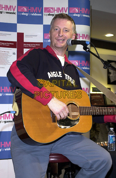 BILLY BRAGG .HMV Oxford Street, London.guitar, singing.www.capitalpictures.com.sales@capitalpictures.com.© Capital Pictures.