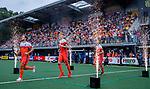 Den Bosch  - Jeroen Hertzberger (Ned) , Joep de Mol (Ned) en Bob de Voogd (Ned)    betreden  het veld voor   de Pro League hockeywedstrijd heren, Nederland-Belgie (4-3).    COPYRIGHT KOEN SUYK