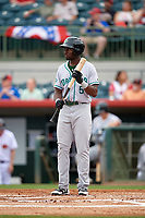 Daytona Tortugas Taylor Trammell (5) at bat during a game against the Florida Fire Frogs on April 7, 2018 at Osceola County Stadium in Kissimmee, Florida.  Daytona defeated Florida 4-3 in a six inning rain shortened game.  (Mike Janes/Four Seam Images)