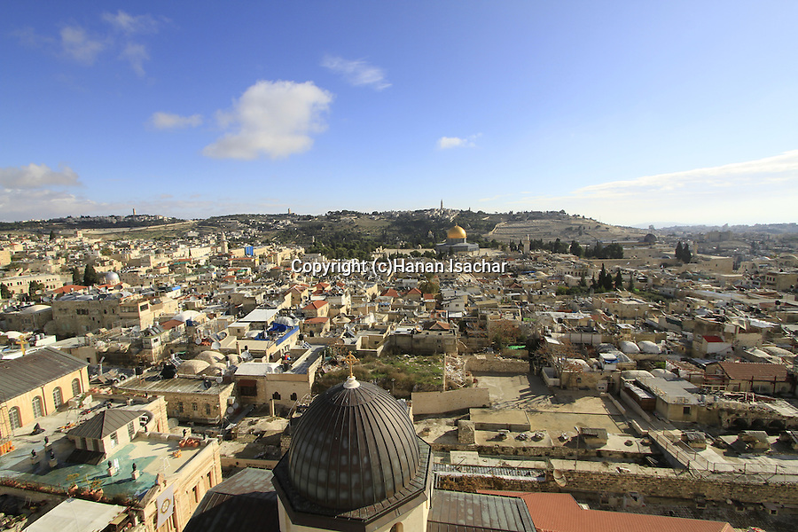 Israel, Jerusalem, a view of the Old City from the bell tower of the Church of the Redeemer, Temple Mount and the Mount of Olives are in the background